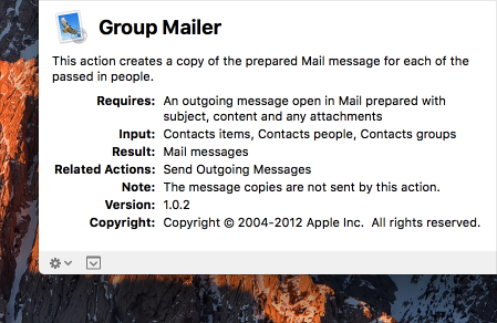 Partial screenshot of the description of the Group Mailer Automator action.