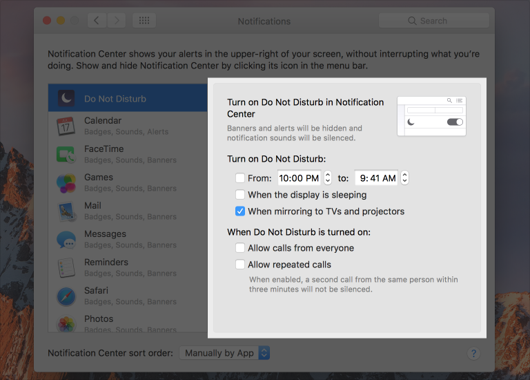 The Do Not Disturb box, as shown in the Notifications preference pane.