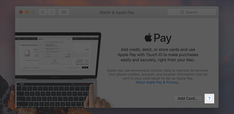 Screenshot of the help button highlighted in the lower-right corner of the Wallet & Apple Pay preferences pane.