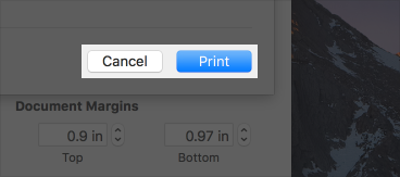 Cropped screenshot of a print dialog, highlighting the Cancel and Print push buttons.