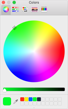 The standard color panel in macOS.