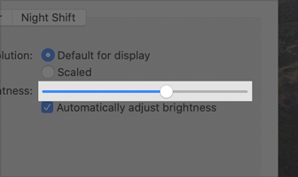 Partial screenshot of the Brightness slider in Display preferences. The slider track is gray and the thumb is a white disk. As the thumb moves to the right, the track fills with blue color. The slider is set to about sixty percent.