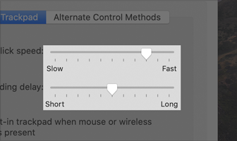 Partial screenshot of the Pointer Control pane of Accessibility preferences. Two sliders in the Mouse and Trackpad tab are shown. At the top is the Double-click speed slider and on the bottom is the Spring-loading delay slider. Both sliders use tick marks, which appear as a series of short, vertical gray lines below the horizontal, gray slider track. As thumb moves to the right the track does not fill with color. The Double-click slider is set to the seventh tick mark out of eleven and the Spring-loading slider is set to the sixth tick mark out of eleven.