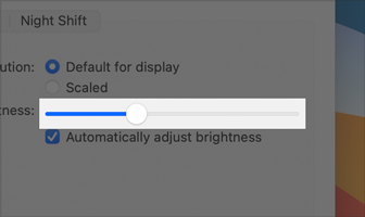 Partial screenshot of the Brightness slider in Display preferences. The slider track is gray and the thumb is a white disk. As the thumb moves to the right, the track fills with blue color. The slider is set to about thirty-three percent.