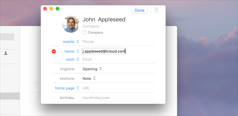 Screenshot of an editable contact in the Contacts app.