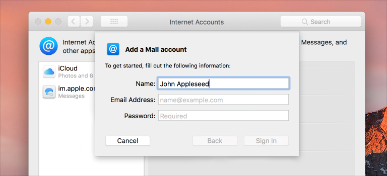 Screenshot of the Add a Mail account sheet in Mail, showing that the Name field has been prepopulated with the first and last name of the user account.