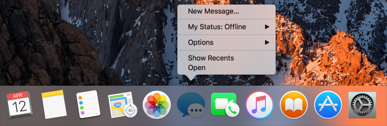 Screenshot cropped to show part of the Dock, with the Messages Dock icon selected and its Dock menu revealed.