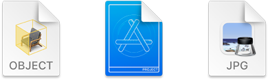 Images of document icons for ARKit, Xcode, and Preview as seen in macOS 11. The ARKit icon shows a chair within a cube drawn in yellow lines. The Xcode icon shows a shape that looks like the letter A within a circle and the word Project below it. The background is blue. The Preview icon displays the Preview app icon above the abbreviation JPG.