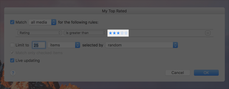 Screenshot of a rating indicator with the leftmost three stars  out of five filled in.