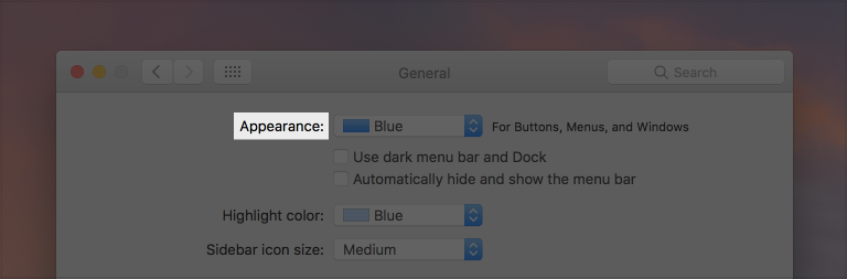 Partial screenshot of the General pane of System Preferences, highlighted to show the label Appearance.