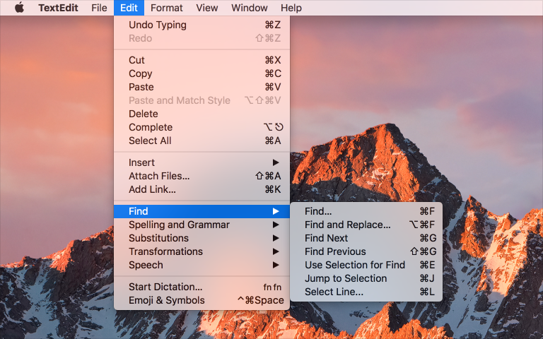 Screenshot cropped to show the TextEdit menu bar menus with the Edit menu and Find submenu revealed.