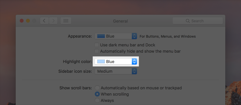 Partial screenshot of the General Preferences pane, highlighted to show the closed Highlight color pop-up button.