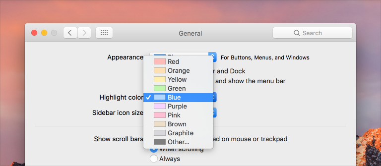 Partial screenshot of the General Preferences pane, showing the open Highlight color pop-up menu, which lists several color options.