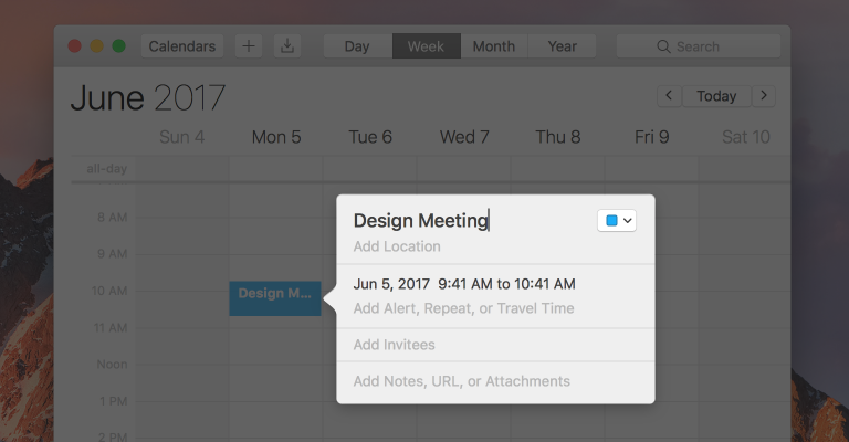 Screenshot of Calendar, highlighting the popover used to view the details of a calendar event.