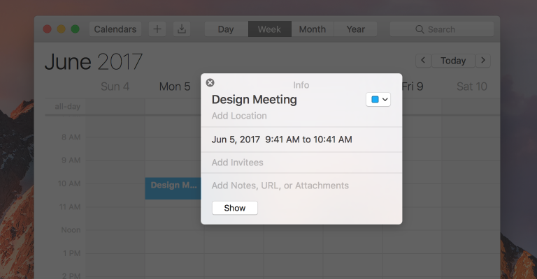 Screenshot of Calendar, highlighting the detached version of the popover used to view the details of a calendar event.