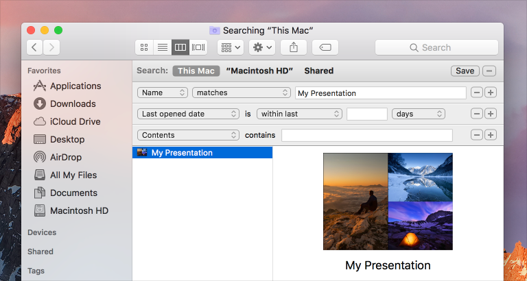 Screenshot of the predicate editor for a Smart Folder, used to locate a file named My Presentation.