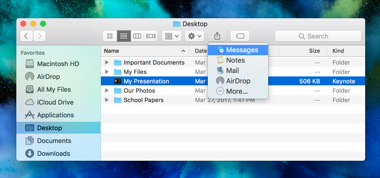 Screenshot of a Finder window in list view with a document selected. The Share toolbar button's menu is open and the Messages item is selected.