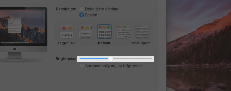 Partial screenshot of the Displays preferences pane with the brightness slider highlighted.