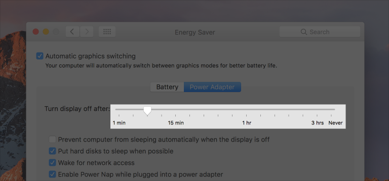 Partial screenshot of the Energy Saver preferences pane, highlighted to show the slider that controls how long the display should remain on after inactivity.