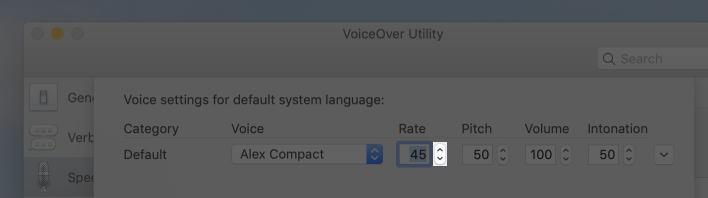 Screenshot of the editing sheet in VoiceOver Utility that's used to adjust settings for the default system language. In the screenshot, the rate stepper is highlighted.