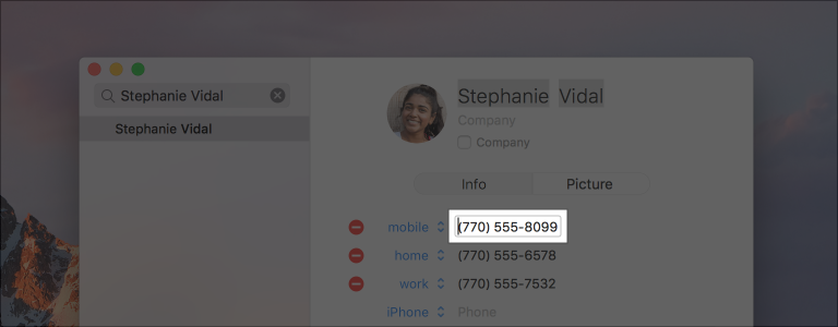 Partial screenshot of the Contacts app, highlighted to show the person's mobile phone number in a text field.