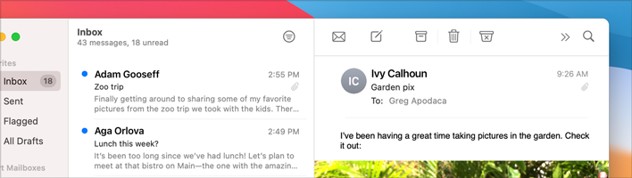 Partial screenshot of the top-right area in the Mail app, cropped to focus on the Inbox message list and the message view. In this screenshot, the Inbox list and the message view are approximately the same width. The filter button is visible in the toolbar above the Inbox message list and all other buttons are visible above the message view.