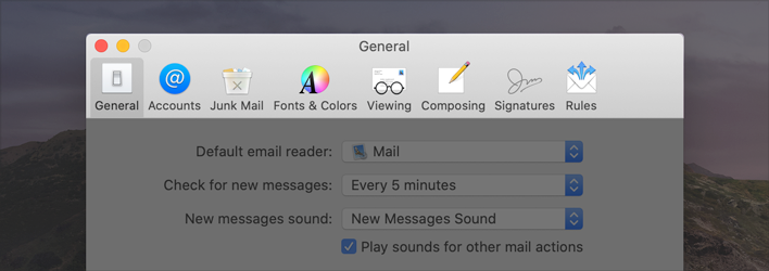 Partial screenshot of the Mail app's General preferences pane, highlighted to show the toolbar. The toolbar uses a gray background and each toolbar button uses a unique icon and set of colors to represent a pane. The toolbar buttons don't include bezels. The top area of the toolbar displays the close, minimize, and fullscreen buttons, followed by the title General. Below the top area are the toolbar buttons. From the left, the panes are General, Accounts, Junk Mail, Fonts and Colors, Viewing, Composing, Signatures, and Rules.