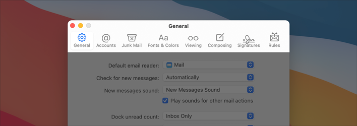 Partial screenshot of the Mail app's General preferences pane, highlighted to show the toolbar. The toolbar uses a white background and the toolbar buttons don't include bezels. The top area of the toolbar displays the close, minimize, and fullscreen buttons, followed by the title General. Below the top area are the buttons that open the panes. Each toolbar button displays a glyph that represents a pane.  From the left, the panes are General, Accounts, Junk Mail, Fonts and Colors, Viewing, Composing, Signatures, and Rules.
