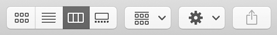 Closeup of the toolbar in a Finder window, which uses a gray background and controls that include bezels. From the left, the toolbar shows the icons, list, column, and gallery view buttons, the item grouping button, the action menu, and the share button.
