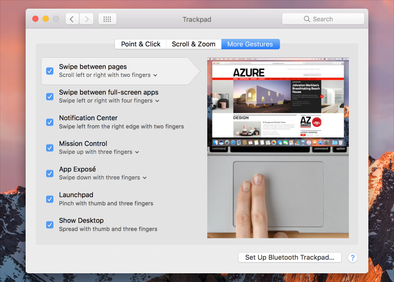 Screenshot of the Trackpad preferences panel, showing the More Gestures pane.