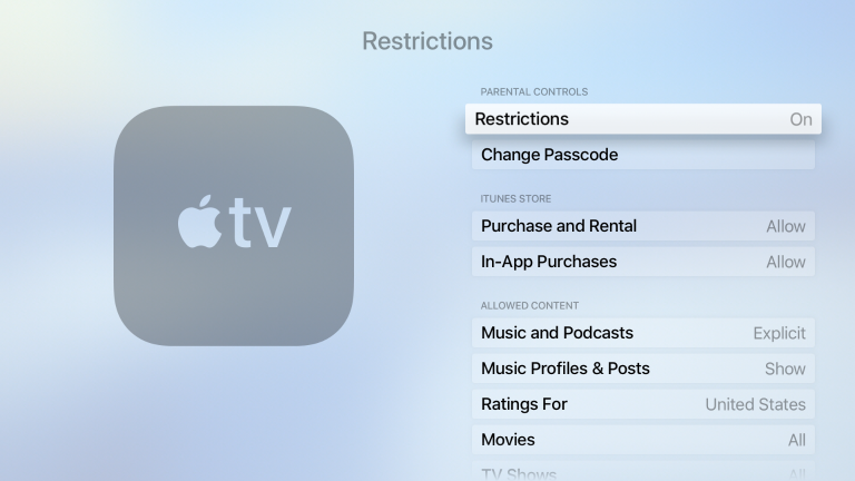 Screenshot of an Apple TV Restrictions screen, where restrictions under parental controls are shown as on.