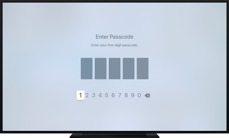 Apple TV screen showing a digit entry view