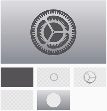 Individual layers of the Apple TV System Preferences App Icon