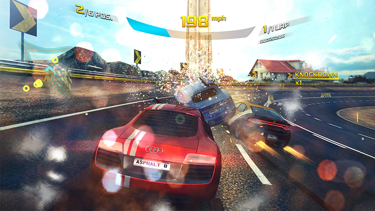Screenshot of a full-screen driving game.