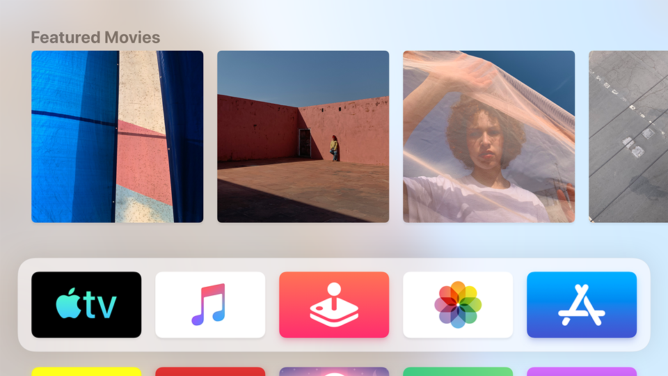 Sectioned Content Row layout on the Apple TV Main Menu