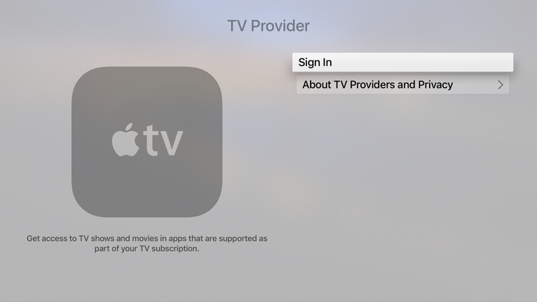 Screenshot of a generic TV provider screen. The sign in button is selected.