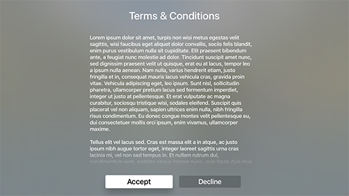 Descriptive Alert Template on Apple TV