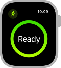 Screenshot of the beginning view for an outdoor run, which shows a green circle on a black background and the word Ready within the circle.