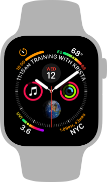 Screenshot of the Infograph face, configured to show several complications. Clockwise from the top-left corner are the Timer, Weather Temp, World Clock, and Air Quality complications. Clustered around the watch hands are the Calendar, Activity, Earth, and Music complications, clockwise from the top. Displayed in an arc above the watch hands is the text 11:15 AM training with Krista.