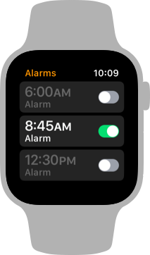 Screenshot of the Alarm app, showing a list of three alarms. From the top, the alarms are six AM, eight forty five AM, and twelve thirty PM. Only the eight forty five AM alarm is enabled.