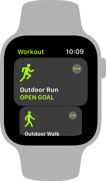 Screenshot of the main Workout screen