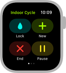 Screenshot of the left-most Workout screen for an Indoor Cycle workout. Clockwise from the top-left corner are the Lock, New, Pause, and End buttons.