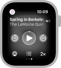 Screenshot of the rightmost Workout screen, which shows the currently playing music. The title of the song is Spring in Berkeley and the artist is The LeMoine Quintet. Below the song and artist names, the screen shows playback controls.
