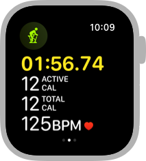 Screenshot of the middle Workout screen for an Indoor Cycle workout. Four lines of data are visible. From the top, the screen shows the elapsed time, which is one hour, fifty-six minutes, and seventy-four seconds, twelve active calories, twelve total calories, and a heart rate of one hundred twenty-five beats per minute.
