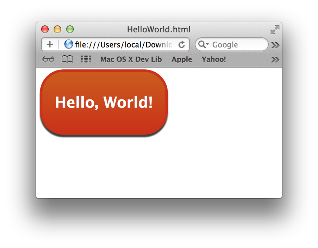 The Hello World widget being previewed in Safari