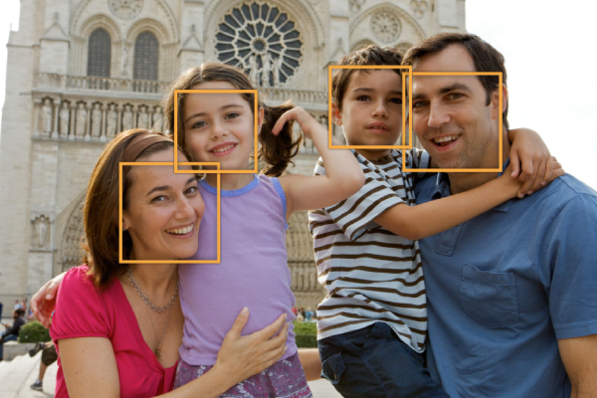 Core Image identifies face bounds in an image