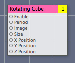 The Rotating Cube clip in the workspace