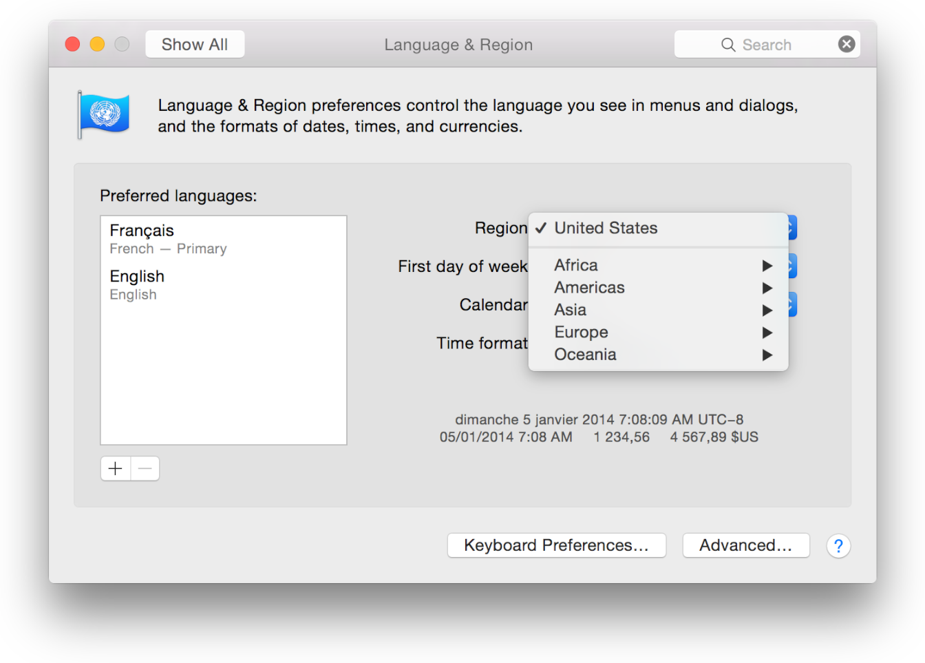 Reviewing Language and Region Settings