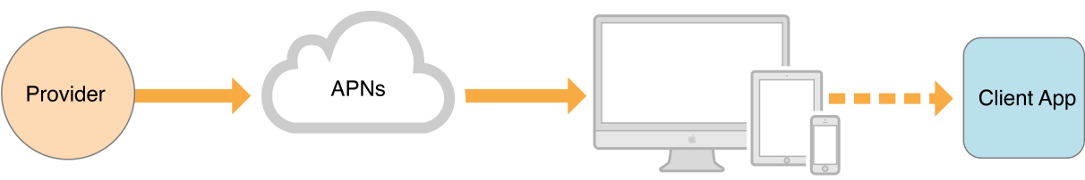 A remote notification from a provider to a client application