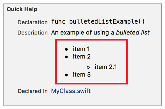 markup formatting reference bulleted lists